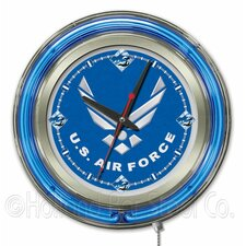 US Armed Forces Double Neon Ring Logo Clock