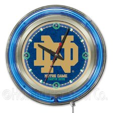 "NCAA 15"" Double Neon Ring Logo Wall Clock"