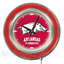 NCAA Double Neon Ring Logo Clock