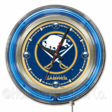 NHL Double Neon Ring Logo Clock