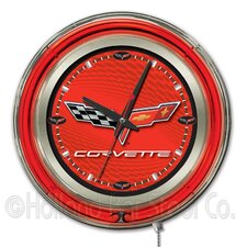 "Corvette - C6 15"" Double Neon Ring Logo Wall Clock"