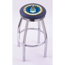US Military Single Chrome Ring Swivel Barstool