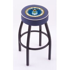 US Military Single Ring Swivel Barstool with Black Base