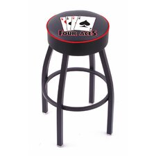 Gambling Single Ring Swivel Barstool with Black Base