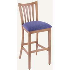 Designer Slat-Back Solid Hardwood Stationary Bar Stool