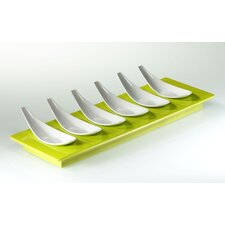 Small Entities Rectangular Finger Food Set with 6 Spoons