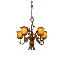 Ponderosa 5 Light Chandelier with Leaf Shade