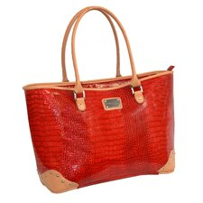 Patent Croco Oversized Laptop Tote Bag