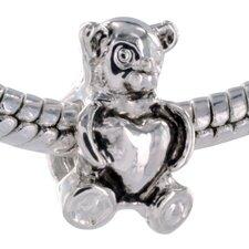 Heart Center Bear Bead Charm