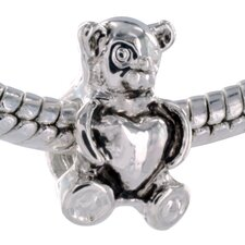 Heart Center Bear Bead Charm