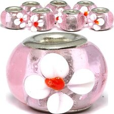 White Flower Glass Bead (Set of 3)