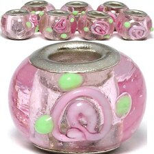 Rose Flower Glass Bead (Set of 3)