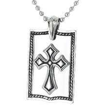 Stainless Steel Framed Cross Dog Tag Necklace