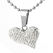 Stainless Steel Crystal Heart Necklace