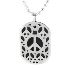 Stainless Steel Cut-out Peace Sign Dog Tag Necklace
