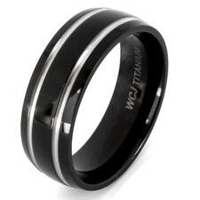 <strong>West Coast Jewelry</strong> Men's Plated Titanium Domed and Grooved Ring