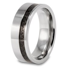 <strong>West Coast Jewelry</strong> Men's Titanium Flat Off-center Carbon Fiber Inlay Ring