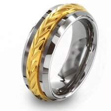 Men's Tungsten Carbide and Laurel Inlay Comfort Fit Ring