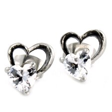 Cut Out Heart Cubic Zirconia Stud Earrings