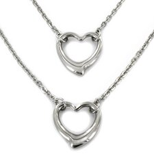 Stainless Steel Double Strand Open Heart Pendant Necklace