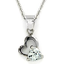 Stainless Steel Heart Cubic Zirconia Necklace