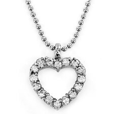 Stainless Steel Cut Out Heart Cubic Zirconia Necklace