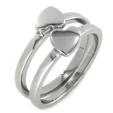 <strong>West Coast Jewelry</strong> Stainless Steel Best Friend Heart 2 Piece Ring Set