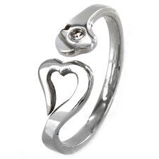 Stainless Steel Heart Cubic Zirconia Promise Ring