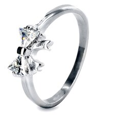 Stainless Steel Trillion Cubic Zirconia Single Stone Ring