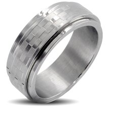 Men's Stainless Steel Brushed Checker Spinner Band Ring