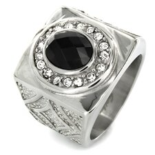 Stainless Steel Oval Royal Onyx and Cubic Zirconia Halo Ring