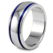 <strong>West Coast Jewelry</strong> Stainless Steel Groove Domed Band Ring