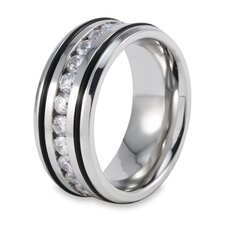 Men's Stainless Steel Polished Cubic Zirconia Inlay Band Ring