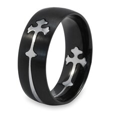 Stainless Steel Cross Cutout  Band Ring