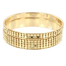 2 Piece Stackable Embossed Circle Goldtone Bangle Bracelet Set
