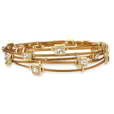Goldtone Copper Colored Wire and Crystal Bangle Bracelet Set