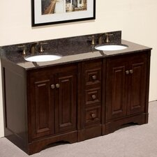 "61"" Double Bathroom Vanity Set with 4 Door"