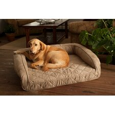 Luxury Memory Foam Bolster Dog Bed with Quilted Taupe Microfiber Cover