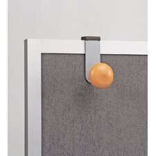 Cubicle Garment Peg, 1 Hook, 2-19/50 x 7-8/9 x 4-31/50, Metallic Grey