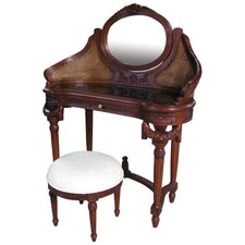 Mahogany Rattan Dressing Table