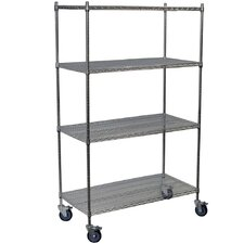 Four Shelf Mobile Wire Shelving Unit Starter