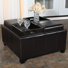 Ferguson Bonded Leather Tray Top Storage Ottoman