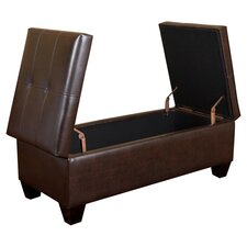 Merrill Double Opening Leather Storage Ottoman