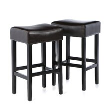 Classic Backless Leather Bar Stool (Set of 2)