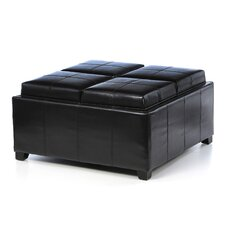 Hughes Four Sectioned Leather Cube Storage Ottoman