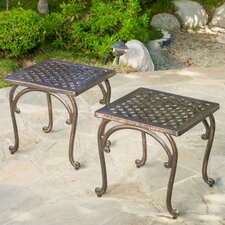 Potenza Cast Aluminum Bronze Outdoor End Table (Set of 2) (Set of 2)