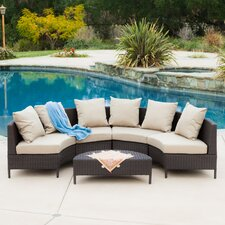 Hanna Outdoor 5 Piece Wicker Lounge Set