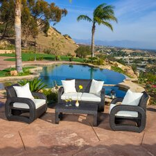Ahola Outdoor 4 Piece Wicker Seating Set