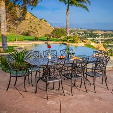 Topanga 9 Piece Aluminum Copper Outdoor Dining Set