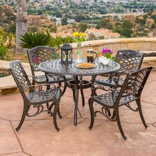 Griffen 5 Piece Cast Aluminum Outdoor Dining Set